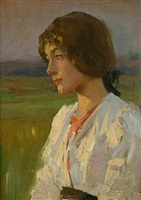 portrait of a girl at dusk by alexander mann