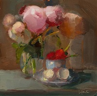 peonies, strawberries and eggshells by christine lafuente