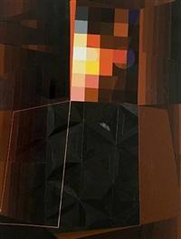 nude #4, red grid by garth weiser