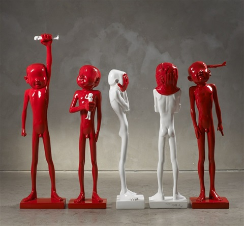 red hands selection of 5 figures by liu bolin