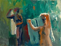 women with towels (bathers) by david park