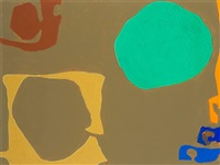 ochre enclosing umber with emerald disc and peripheral orange: november 1968 by patrick heron