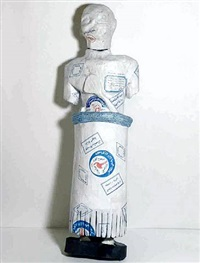 the invisible enemy should not exist- large male figure with inscription (recovered, missing, stolen series) by michael rakowitz