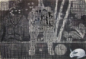 3 p.m. chair (black & white) by jennifer bartlett