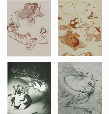 set of 4 etchings by inka essenhigh