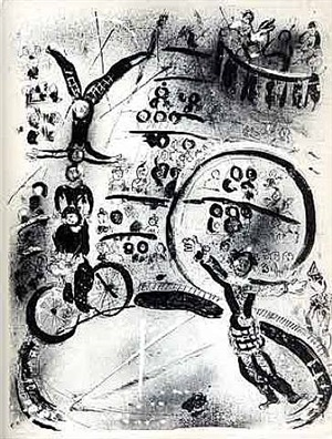 les cyclistes by marc chagall
