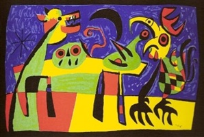 dog barking at the moon by joan miró