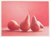 four red bosc pears by martha alf