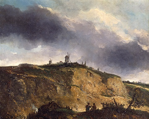 windmills, montmartre by georges michel