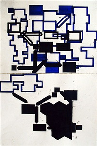 black on blue diagrams for double-tiered sculpture by barry le va