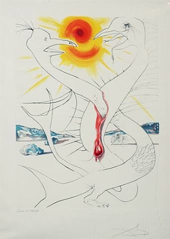 the caduseus of mars nourished by the ball of fire of jupiter by salvador dalí