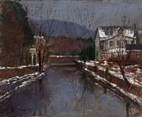 lambertville winter canal by anthony michael autorino