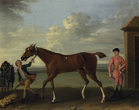 a chestnut racehorse held by a groom by john wootton