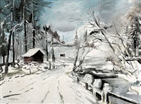 winter landscape by ernst huber