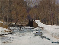 canal, winter - sold by anthony michael autorino