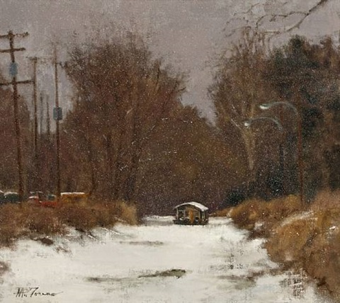 winter - canal, new hope, pa by anthony michael autorino