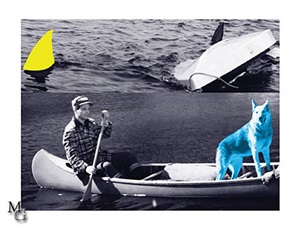 man, dog (blue), canoe/shark fins by john baldessari
