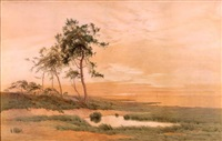 the heavens yet touched with sunset glow brightness above and hushed submissive calm below by henry farrer