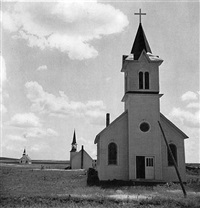 three churches of the high plains, near winner, south dakota by dorothea lange