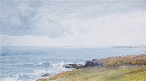 a view of beavertail from the south shore of newport by william trost richards