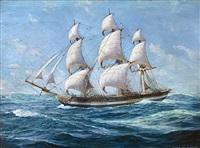 """""""american"""" old salem frigate by anton otto fischer"""