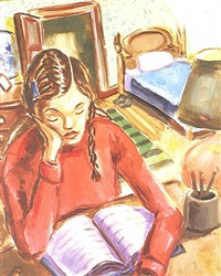 untitled (girl reading) by john miller