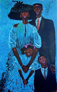 family in blue by geoffrey holder