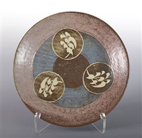 plate with rope inlay and wax resist decoration by tatsuzo shimaoka