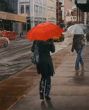 red umbrella (sold) by vincent giarrano