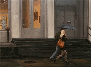 couple in rain (sold) by vincent giarrano