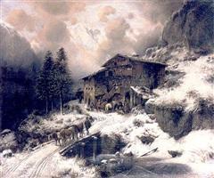 winterliche gerbirgslandschaft mit bergdorf by richard a. zimmerman