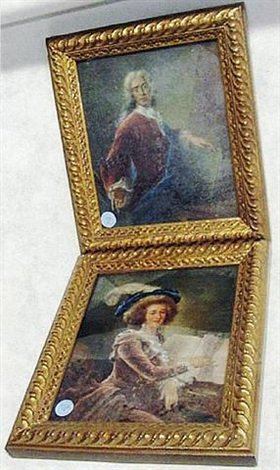 pair of french reverse-glass paintings