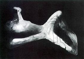 reclining figure in dark landscape by henry moore