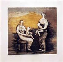 mother and child xvi, from mother and child by henry moore