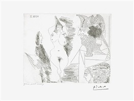 jeune femme et gentilhomme: sculpture egyptienne au socle peint, from the 347 series, 18 september by pablo picasso