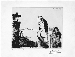 un dejeuner sur l'herbe rembranesque, avec maja et celestine, from the 347 series, 20 july by pablo picasso