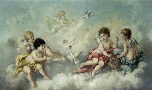 putti amidst clouds by charles augustus henry lutyens