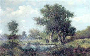 an artist painting in a sylvan landscape by rené gourdon