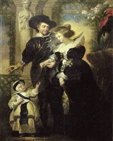 self portrait with helen fourment and first born child in a garden (nn-360) by sir peter paul rubens