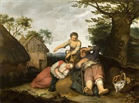 rural genre scene with the prodigal son by abraham bloemaert