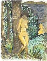 stehender weiblicher akt, an baum gelehnt, rechts mit blick auf einen teich / standing female figure by otto mueller