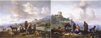 a pair of landscapes said to be showing the town of maastricht and surroundings by hendrick mommers