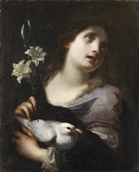 a personification of purity, holding a lily and a white dove by simone pignone