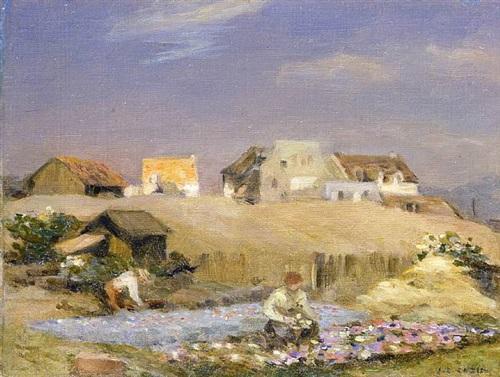 paysage à la mare by jean-charles cazin