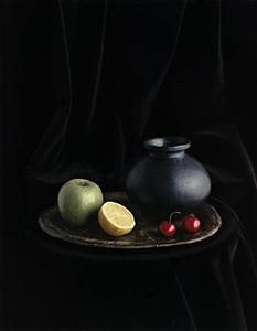 oaxaca jar with cherries (still life no. 4), new york by evelyn hofer