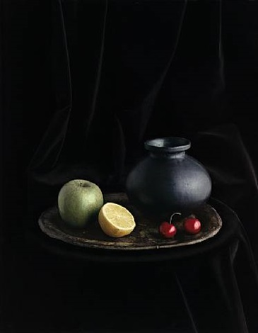 oaxaca jar with cherries (still life no. 4), new york by evelyn hofer