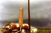 corn sign with storm cloud, near greensboro, alabama, 1977 by william christenberry