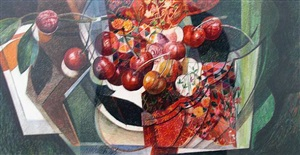 still life with cherries (stillleben mit kirschen) by martina alt-schäfer