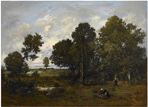 wood gatherers in a clearing by narcisse virgile diaz de la peña