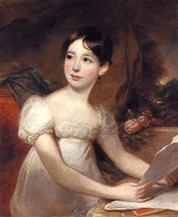 portrait of a young lady, three quarter-length, seated in a white dress, holding a letter, before a curtain, a landscape beyond nn-370 by john opie
